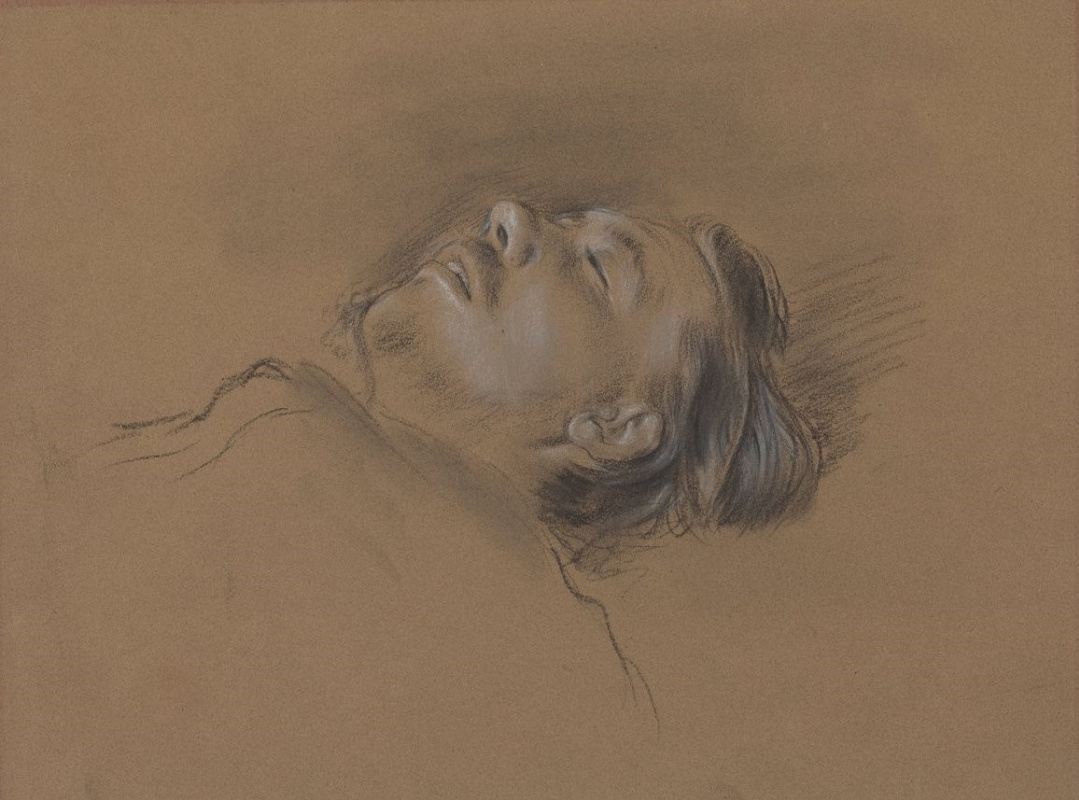 """Edgar Degas. The man's head. A sketch for the painting """"Scene at the races: the fallen jockey"""""""