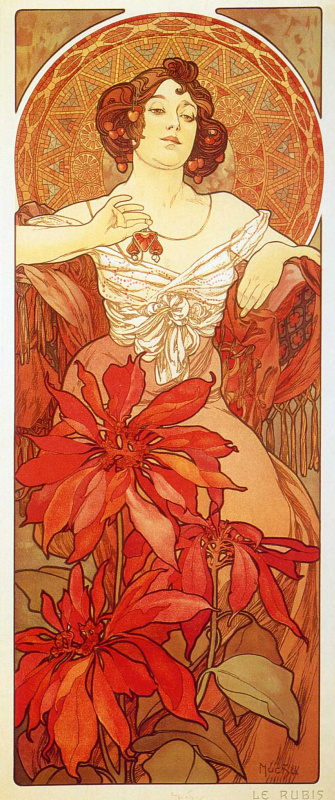 "Alfonse Mucha. Ruby. From the series ""Precious stones"""