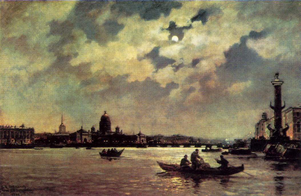 Александр Карлович Беггеров. Вид на Неву и адмиралтейскую набережную в лунную ночь
