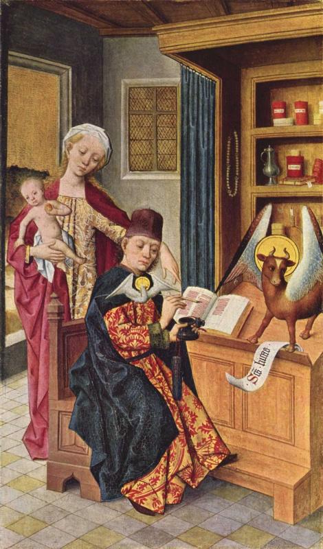 Хермен Роде. Алтарь Луки, внутренняя сторона левой створки. Богодухновение евангелиста Луки