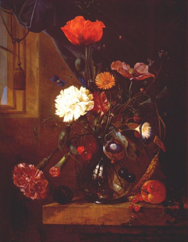 Корнелис де Хем. Букет цветов в стеклянной вазе