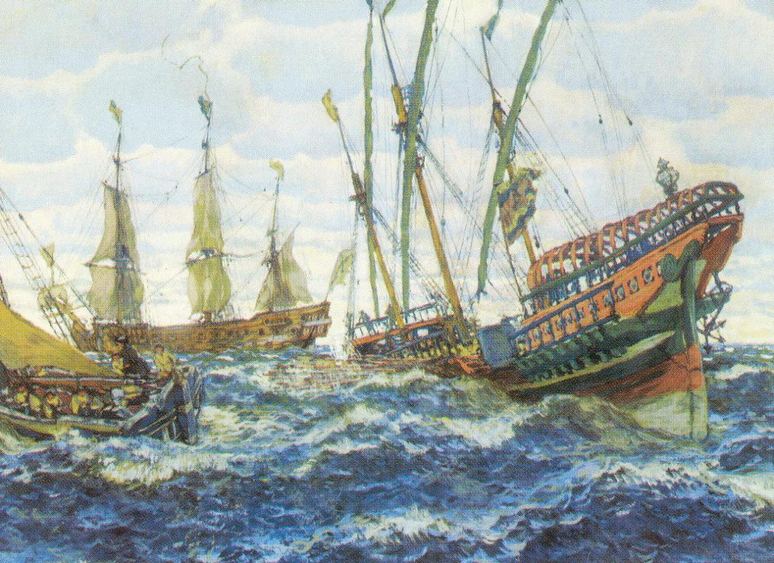 Evgeniy Evgenievich Lansere. Ships of the time of Peter I