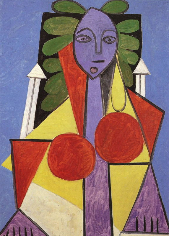 Pablo Picasso. The woman in the chair. Portrait Of Francoise Gilot