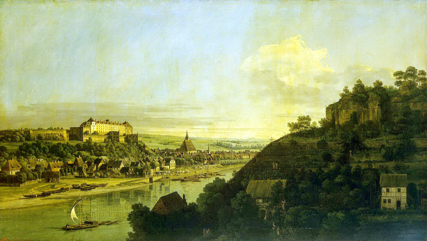 Bernardo Bellotto. View of Pirna from the right Bank of the Elbe above the city