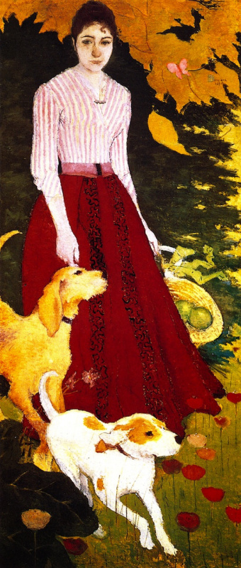 Pierre Bonnard. Madame Bonnard with dogs