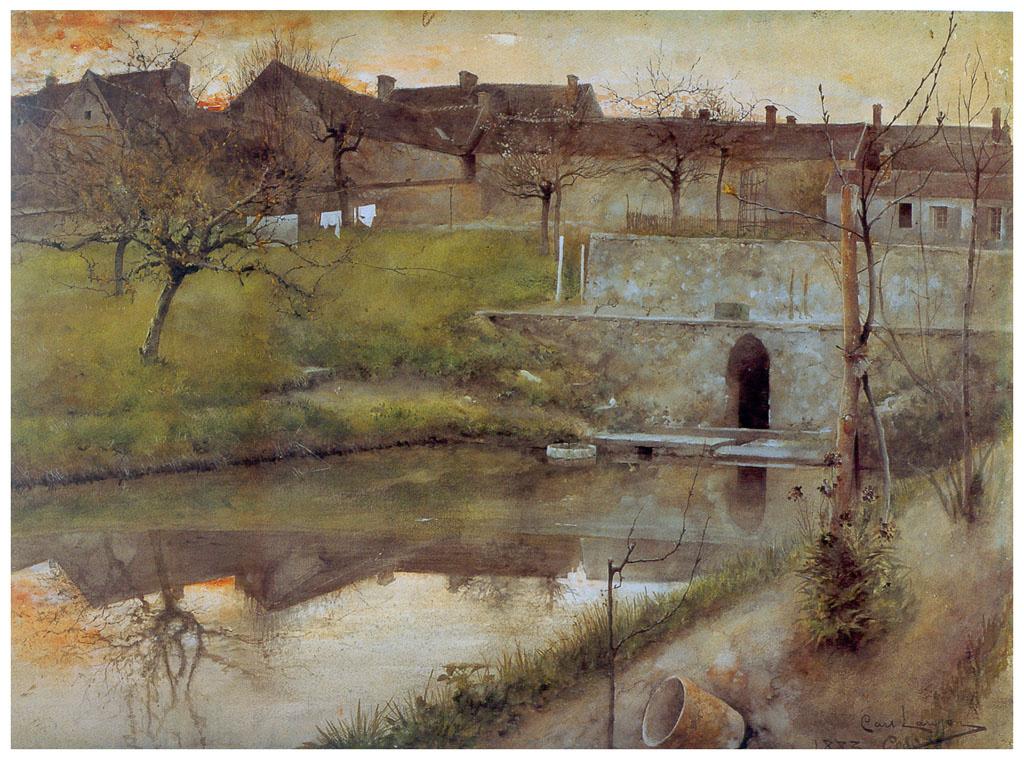 Carl Larsson. Pond Grez-sur-Loing