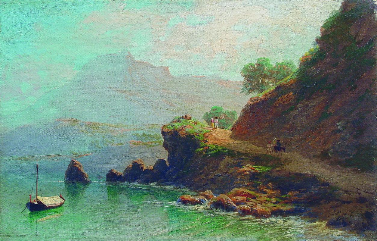 Лев Феликсович Лагорио. Залив. По горной дороге вдоль берега моря. 1860