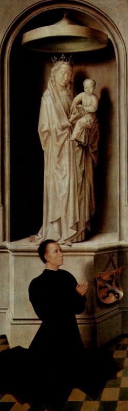 Ганс Мемлинг. Страшный суд. Триптих. Левая створка, внешняя сторона: Молящийся донатор Анжело Тани и Мария с младенцем