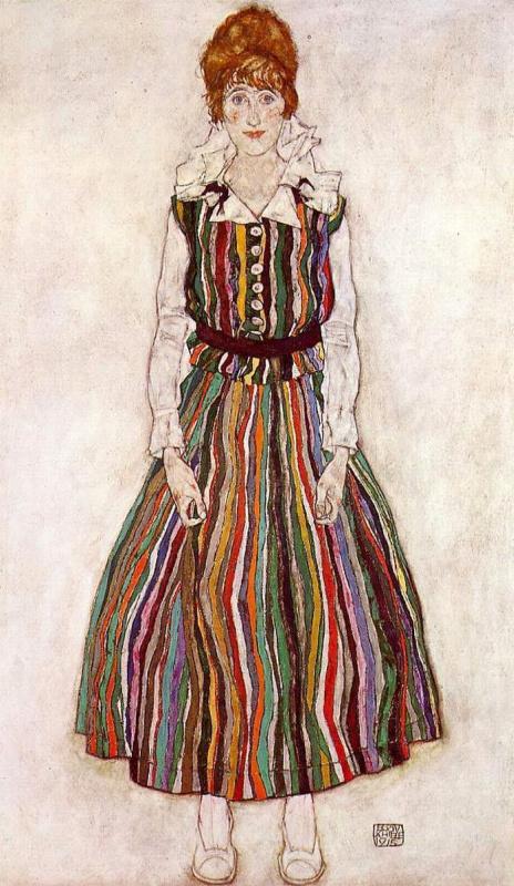Egon Schiele. Portrait of Edith Schiele in a striped dress