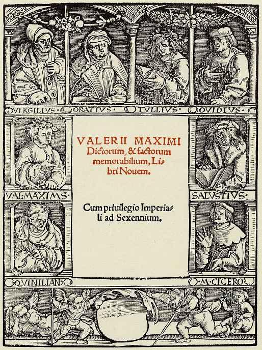 Ханс Бальдунг. Обрамление титула с изображением восьми античных авторов