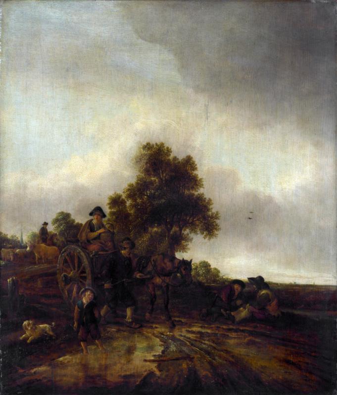 Исаак Янс ван Остаде. Пейзаж с крестьянами и корзиной