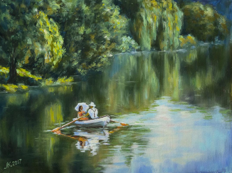 Mila Kaneyeva. On the lake in the summer Park