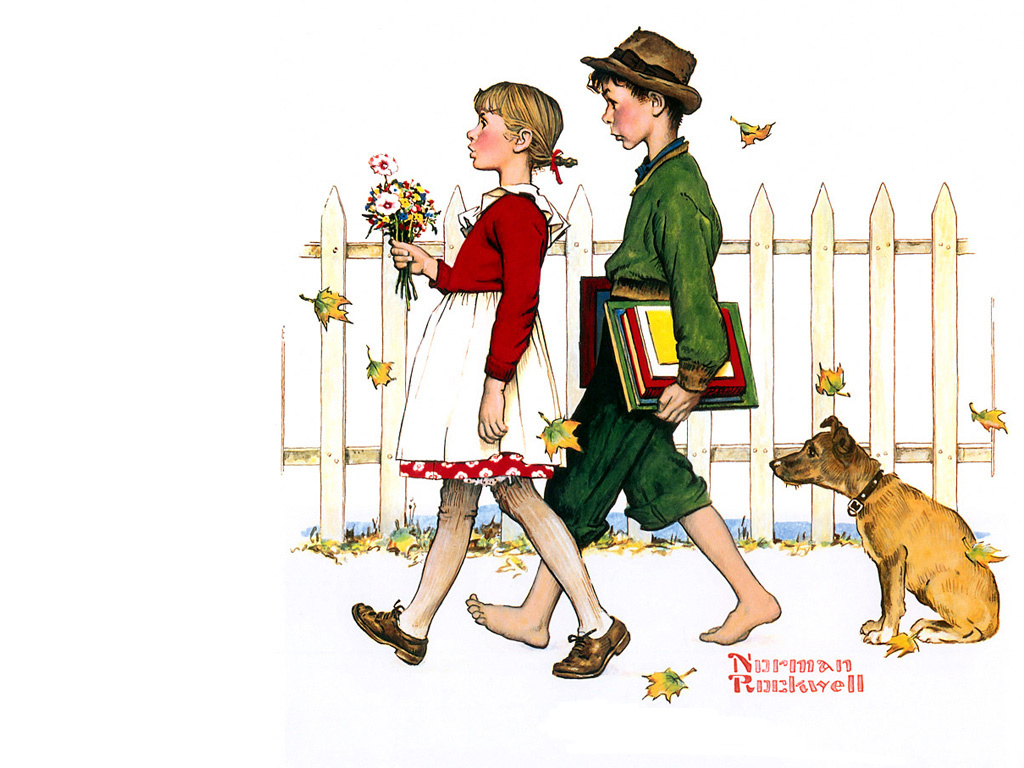 """Norman Rockwell. The rhythm of school. From the series """"First love"""""""