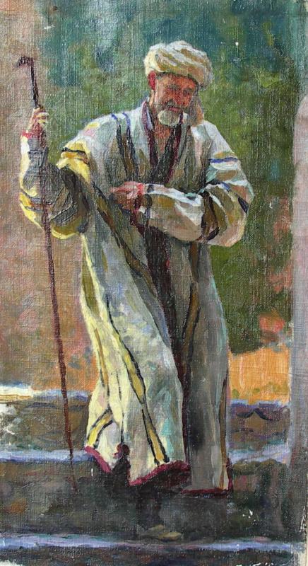 Александр Иванович Лактионов. Н.Б.Бакланов в узбекском костюме и с посохом