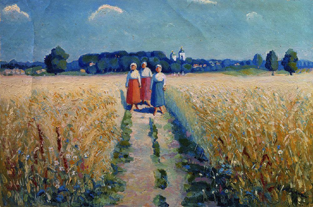 Kazimir Malevich. Three women on the road