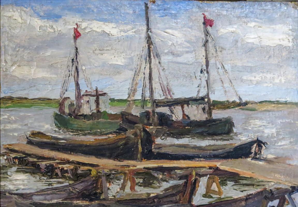 Степан Григорьевич Писахов. Boats on the river