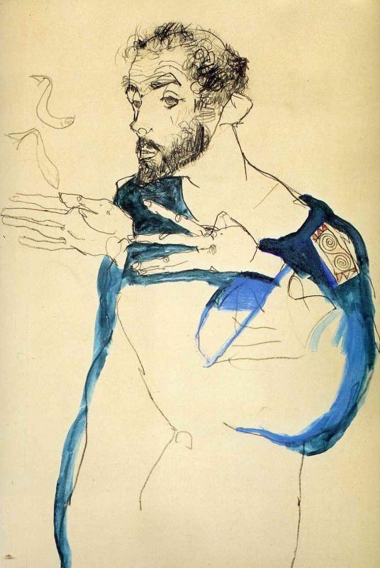 Egon Schiele. Gustav Klimt in a blue robe