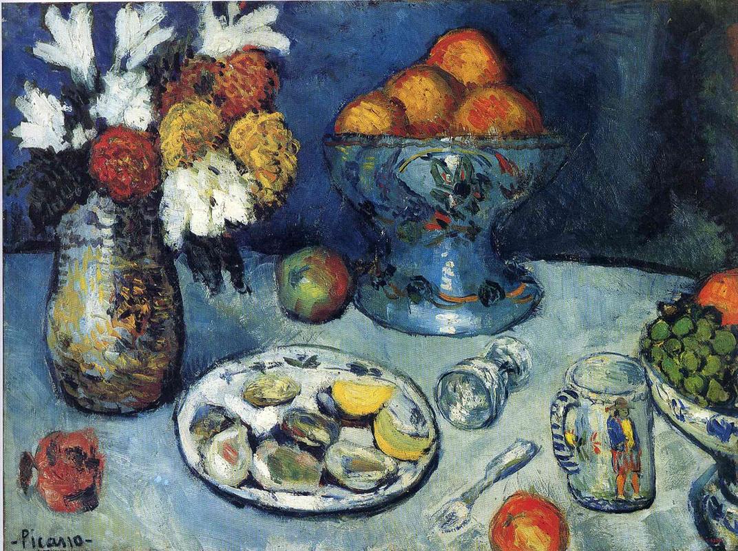 Пабло Пикассо. Натюрморт с цветами и фруктами