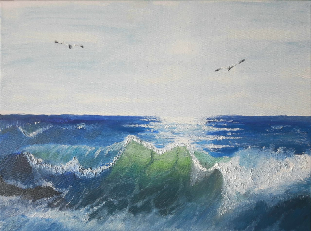 "Sergey Antonovich Bozhko. ""The azure sea after the storm"""