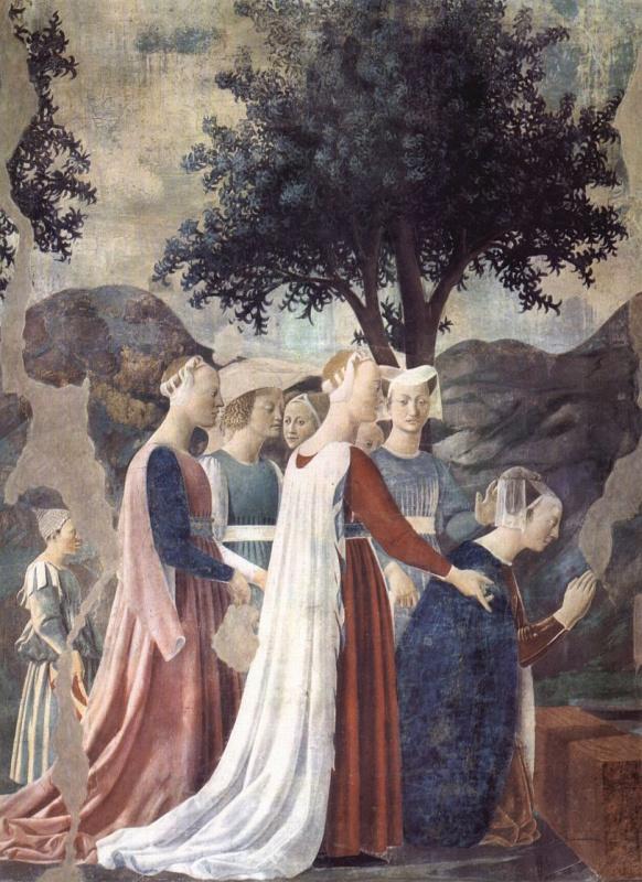 Piero della Francesca. A visit to king Solomon Queen Sheba snippet: the Worship of the Queen of Sheba cross