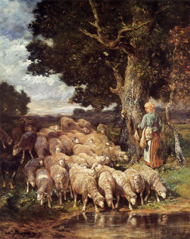 Пастушка у ручья