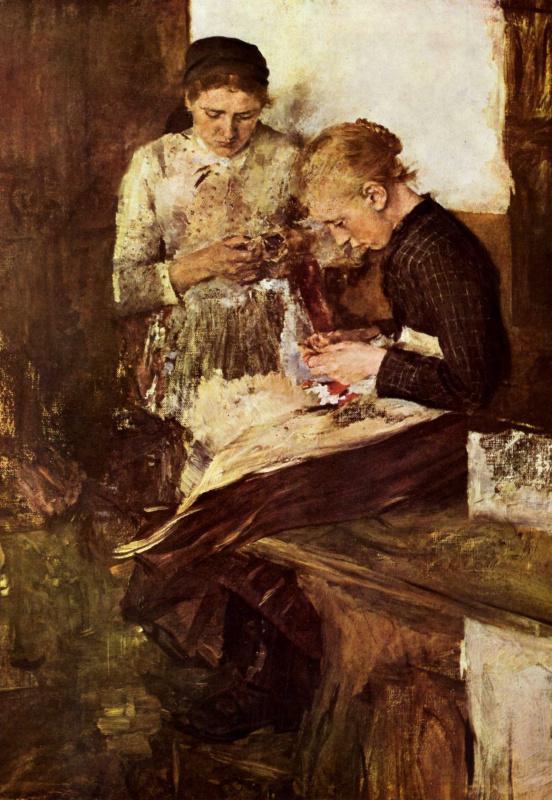Вильгельм Мария Хубертус Лейбль. Девушка, вышивающая, сидя на лежанке