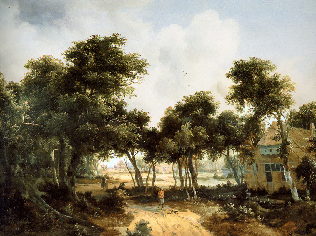 Maydert Hobbema. Ruined cottages in the woods