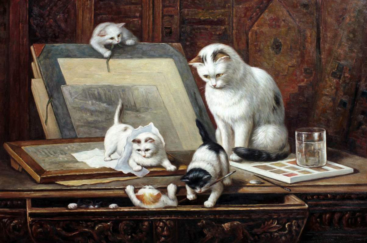 Savely Kamsky. A copy of the oil painting Henrietta Ronner-Knip Drawing kittens