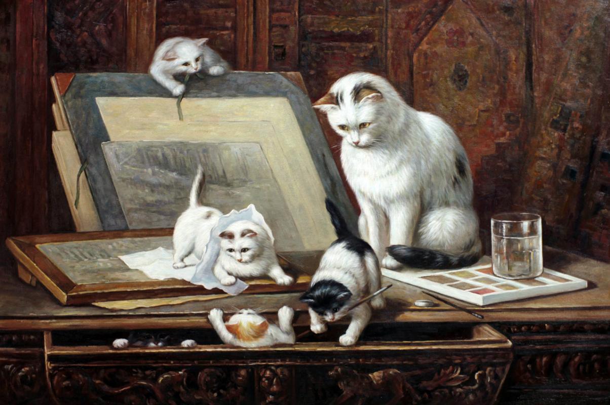 Савелий Камский. Копия картины маслом Генриетты Роннер-Книп Рисующие котята