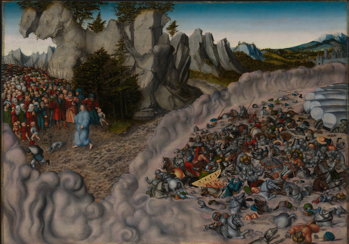 Lucas Cranach the Elder. The death of the army of Pharaoh in the Red sea
