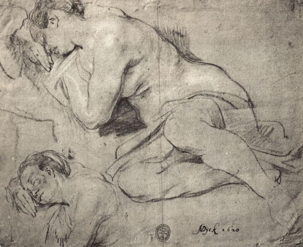 Антонис ван Дейк. Лист этюдов спящей женщины