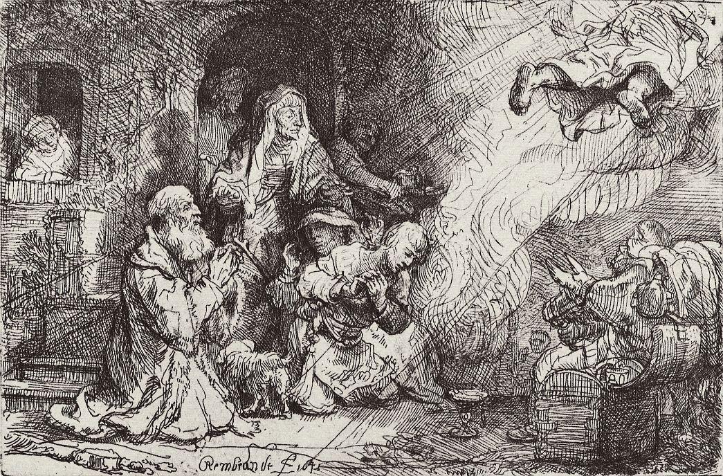 Рембрандт Ван Рейн. Ангел покидает семейство Товии