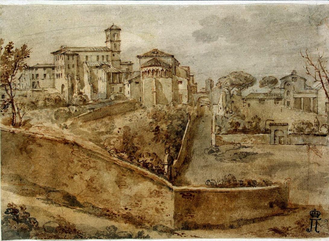Шарль-Луи Клериссо. Вид на церковь Сан-Джованни-э-Паоло в Риме