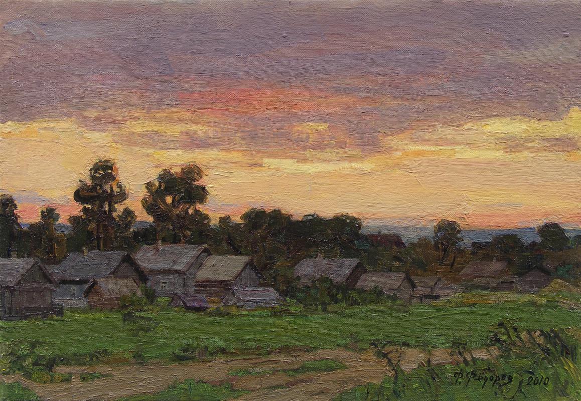 Фёдор Борисович Фёдоров. Sunset in the village