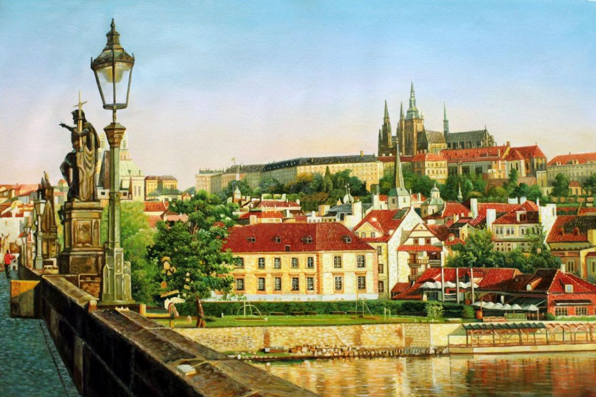 Alexander Romm. Prague. View of Hradcany from Charles Bridge