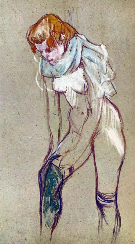 Анри де Тулуз-Лотрек. Женщина подтягивающая чулок