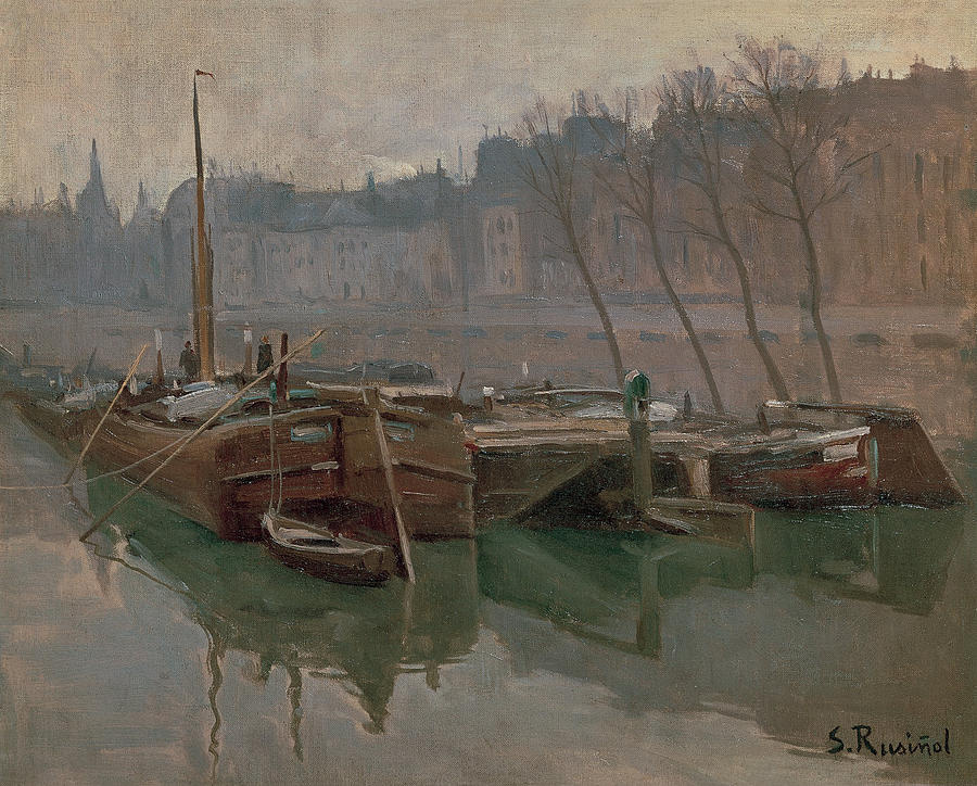 Santiago Rusignol. Barges on the Seine