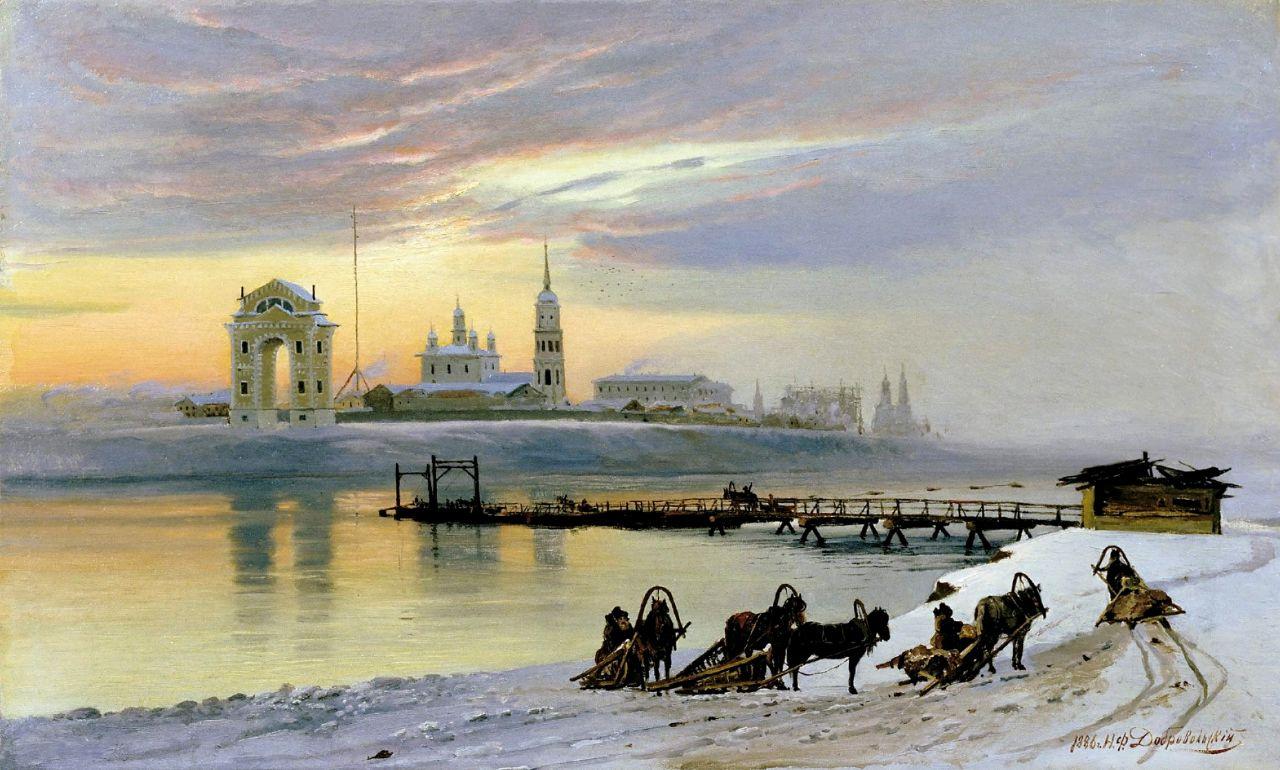 Николай Добровольский. Переправа через Ангару в Иркутске