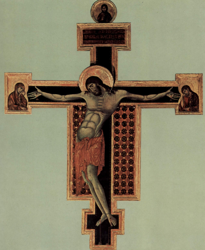 Cheney di Pepo Cimabue. Crucifixion, Tondo: Blessing Christ, the Crucifixion, Mary and John
