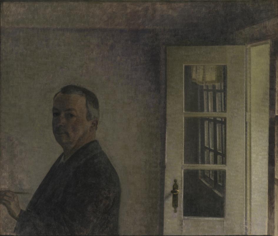 Вильгельм Хаммерсхёй. Автопортрет. Коттедж «Гнездо воробья» в Сонгенфри к северу от Копенгагена