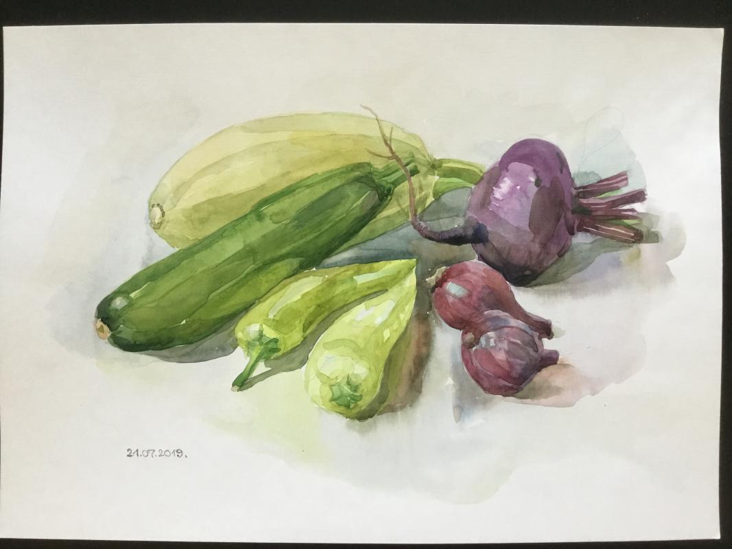 Vladimir Petrov. Still life with vegetables