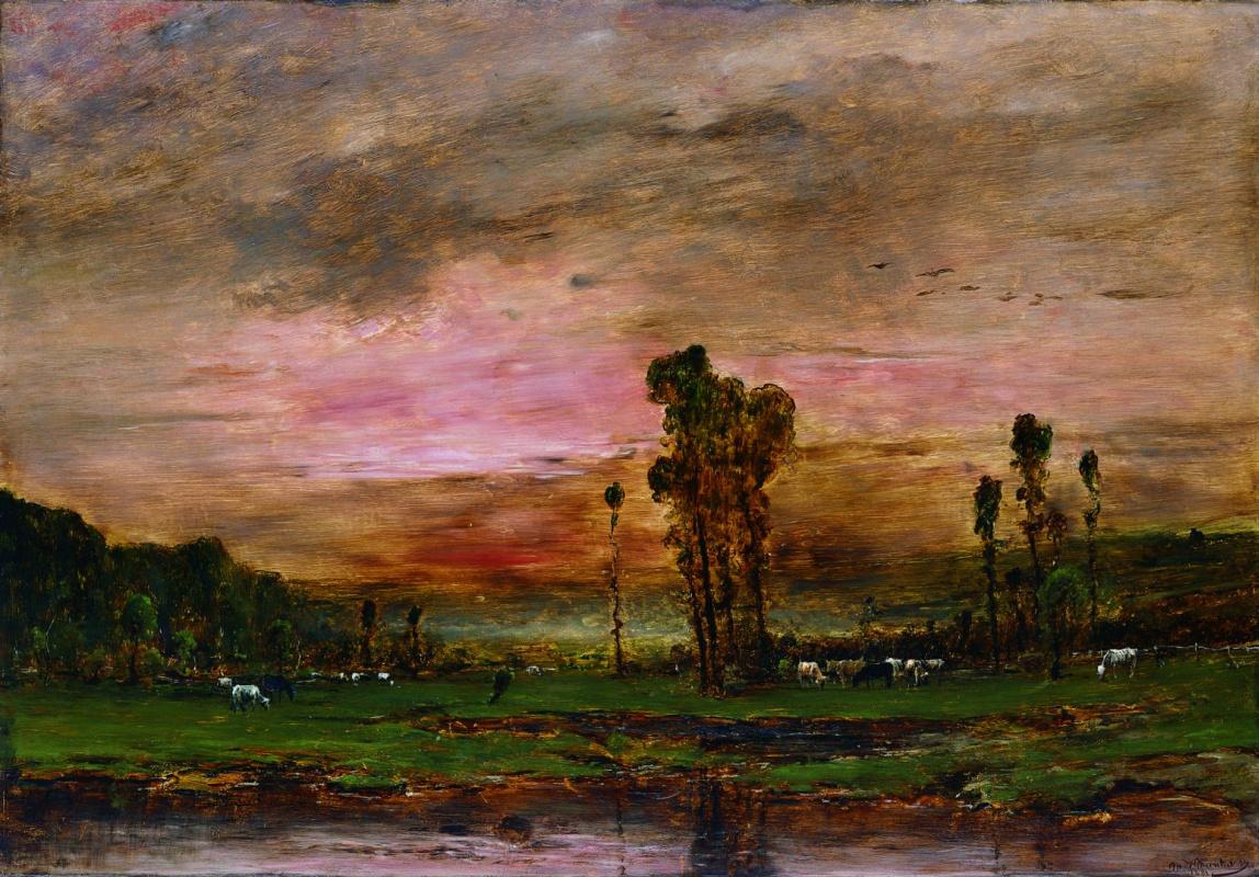 Михай Либ Мункачи. Пейзаж с пасущимися коровами
