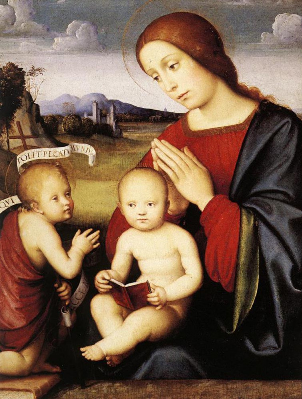 Франческо Франча. Мадонна с младенцем и младеец Святой Иоанн Креститель