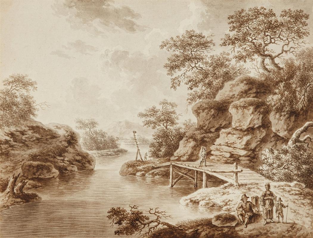 Неизвестный  художник. Пейзаж с деревянным мостом и путниками