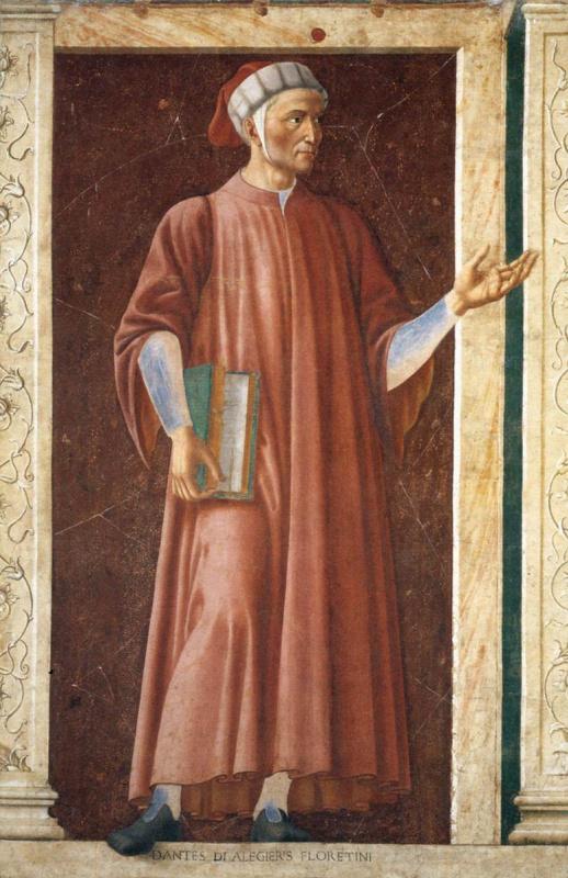 Андреа дель Кастаньо. Знаменитые персоны. Данте Алигьери