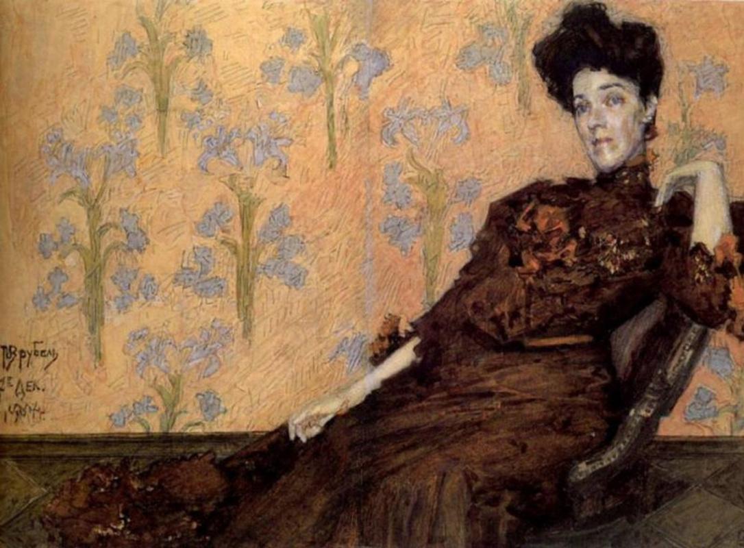 Михаил Александрович Врубель. Портрет Н.И. Забелы-Врубель в кресле на фоне обоев