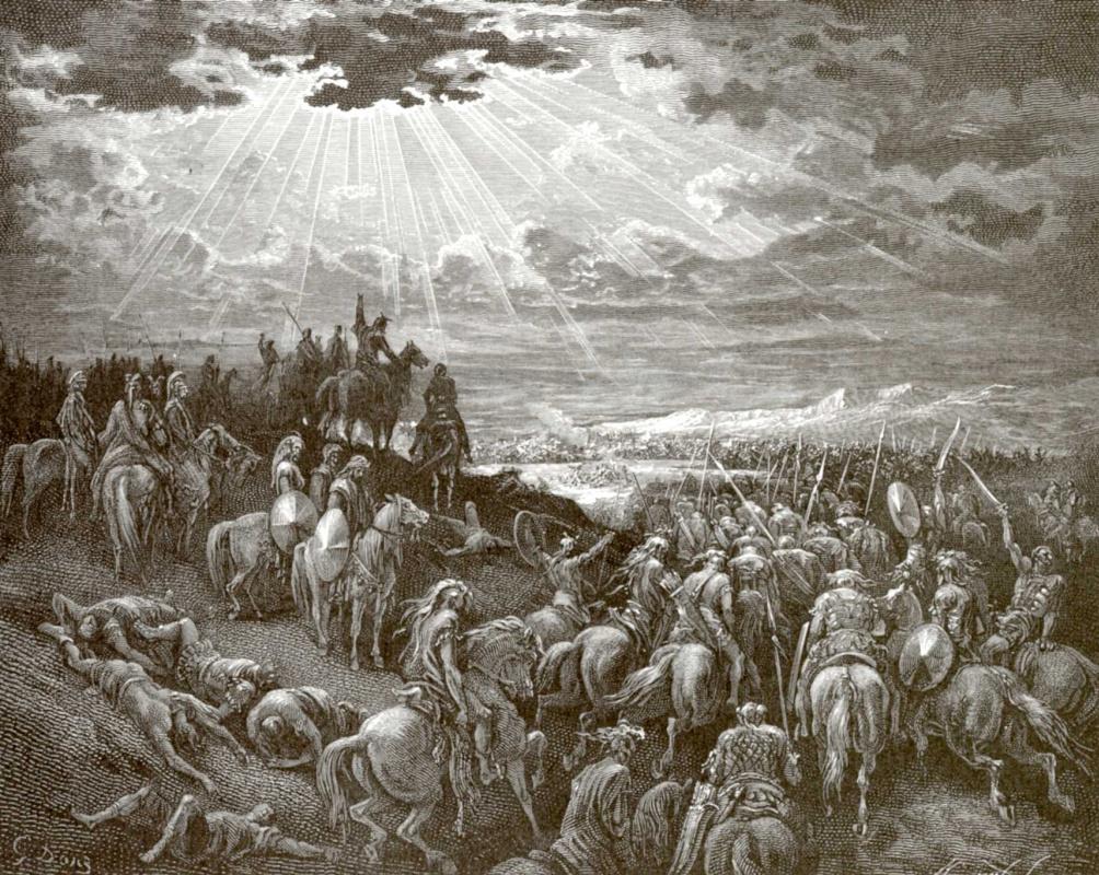 Поль Гюстав Доре. Иллюстрация к Библии: Иисус Навин сказал: стой, солнце, над Гаваоном