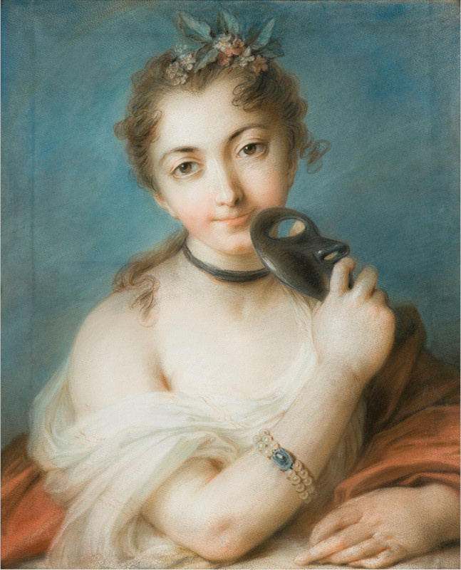 Rosalba Carriera (Carrera). Portrait of a woman with a mask