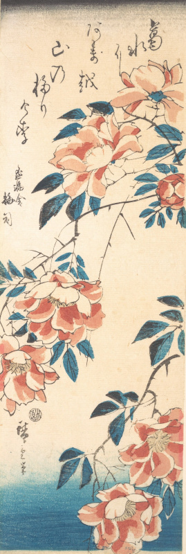 Utagawa Hiroshige. Wild roses on the river