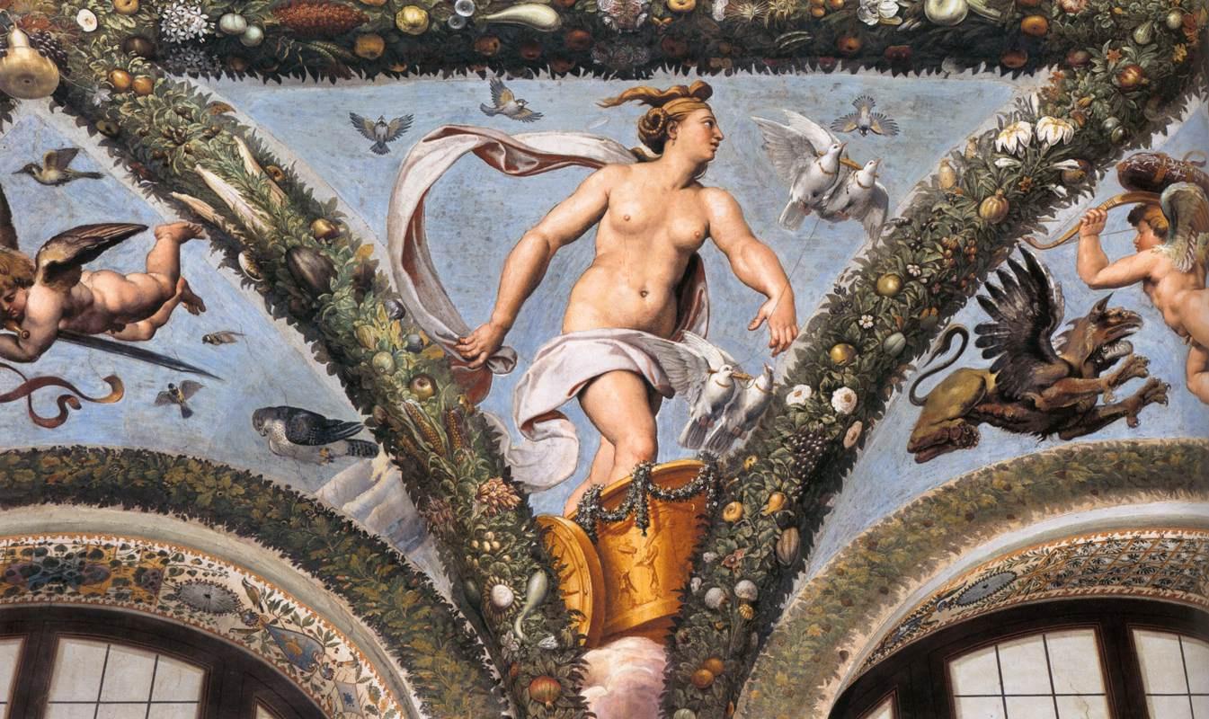 Raphael Sanzio. Venus in a chariot drawn by doves. Fresco the loggia of psyche, Villa Farnesina, Rome